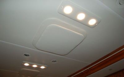 2005 Tiffin Allegro Bus, Vinyl Wrapped Light Boards to Match Ceiling  LED Lights