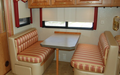Holiday Ramber Endavor, Dinette Booth Reupholstery, RV Renovation